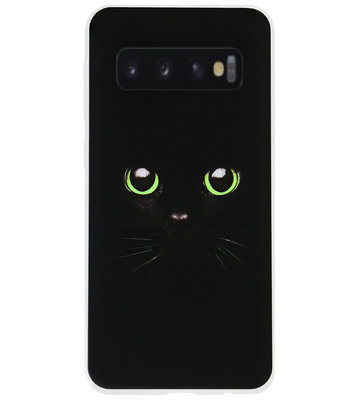ADEL Siliconen Back Cover Softcase Hoesje voor Samsung Galaxy S10 - Kat Zwart Groene Ogen
