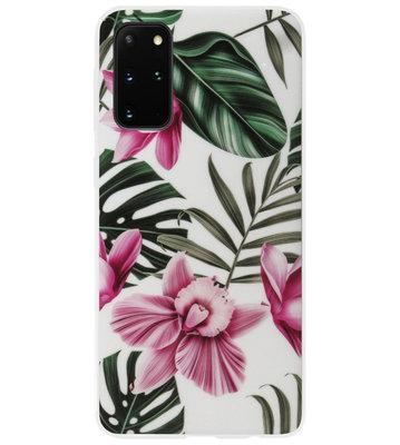 ADEL Siliconen Back Cover Softcase Hoesje voor Samsung Galaxy S20 Plus - Planten Bloemen Roze Groen