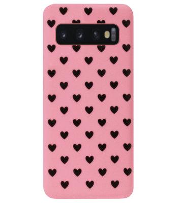 ADEL Siliconen Back Cover Softcase Hoesje voor Samsung Galaxy S10 - Hartjes Roze Zwart
