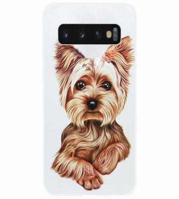 ADEL Siliconen Back Cover Softcase Hoesje voor Samsung Galaxy S10 - Yorkshire Terrier Hond