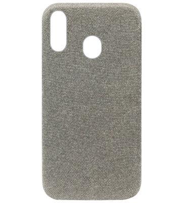 ADEL Kunststof Back Cover Hardcase Hoesje voor Samsung Galaxy A40 - Stoffen Design Grijs