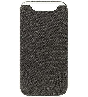 ADEL Kunststof Back Cover Hardcase Hoesje voor Samsung Galaxy A80/ A90 - Stoffen Design Zwart