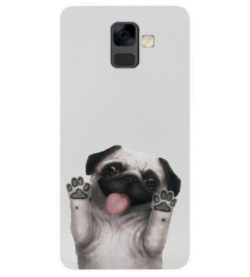 ADEL Siliconen Back Cover Softcase Hoesje voor Samsung Galaxy A6 Plus (2018) - Bulldog Hond