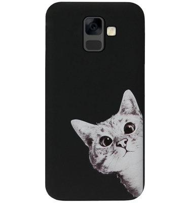ADEL Siliconen Back Cover Softcase Hoesje voor Samsung Galaxy A6 Plus (2018) - Katten Zwart