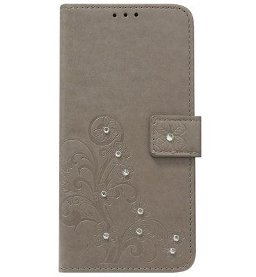 ADEL Kunstleren Book Case Portemonnee Pasjes Hoesje voor Samsung Galaxy A6 Plus (2018) - Bloemen Diamanten Bling Bling