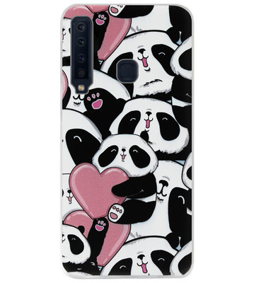 ADEL Siliconen Back Cover Softcase Hoesje voor Samsung Galaxy A9 (2018) - Panda Hartjes