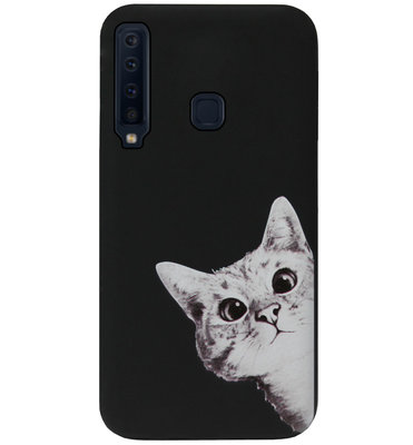 ADEL Siliconen Back Cover Softcase Hoesje voor Samsung Galaxy A9 (2018) - Katten Zwart