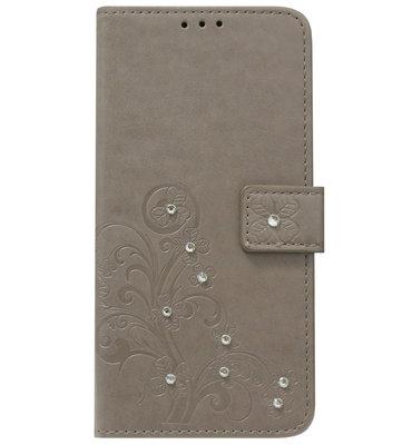 ADEL Kunstleren Book Case Portemonnee Pasjes Hoesje voor Samsung Galaxy A9 (2018) - Bloemen Diamanten Bling Bling