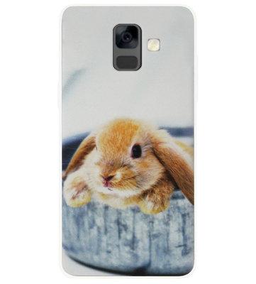 ADEL Siliconen Back Cover Softcase Hoesje voor Samsung Galaxy A6 Plus (2018) - Konijn Broekzak