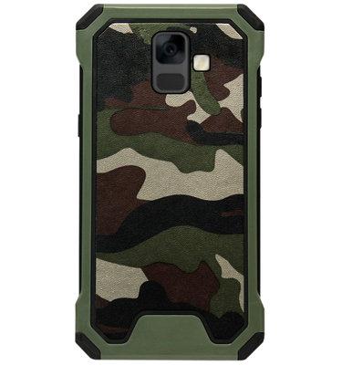 ADEL Kunststof Bumper Case Hoesje voor Samsung Galaxy A6 Plus (2018) - Camouflage