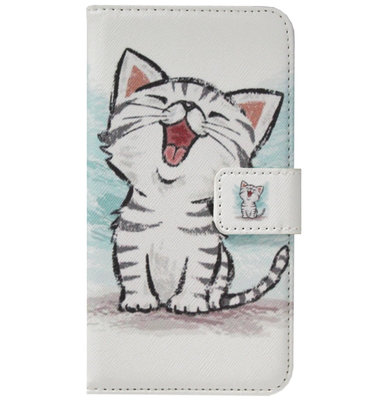 ADEL Kunstleren Book Case Portemonnee Pasjes Hoesje voor Samsung Galaxy A6 Plus (2018) - Katten Wit
