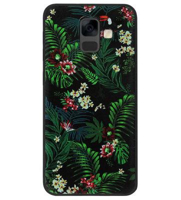 ADEL Siliconen Back Cover Softcase Hoesje voor Samsung Galaxy A6 Plus (2018) - Planten Bloemen Blauw Roze