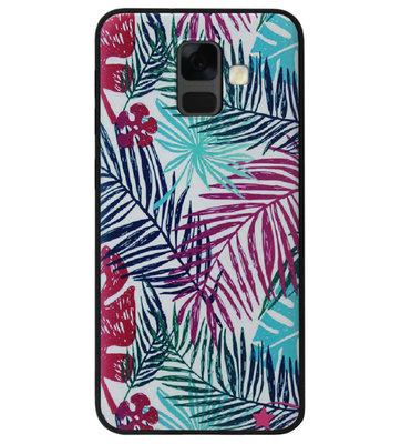ADEL Siliconen Back Cover Softcase Hoesje voor Samsung Galaxy A6 Plus (2018) - Bloemen Planten Groen
