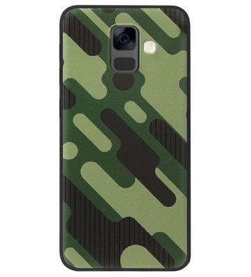 ADEL Siliconen Back Cover Softcase Hoesje voor Samsung Galaxy A6 Plus (2018) - Camouflage