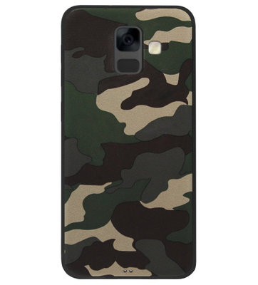 ADEL Siliconen Back Cover Softcase Hoesje voor Samsung Galaxy A6 Plus (2018) - Camouflage Stoer