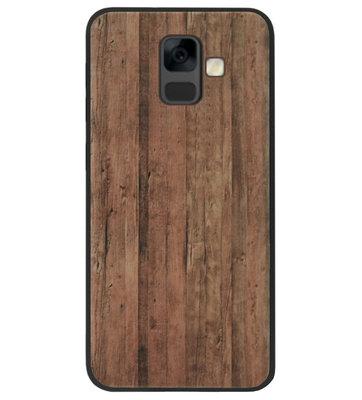 ADEL Siliconen Back Cover Softcase Hoesje voor Samsung Galaxy A6 Plus (2018) - Houten Design Lichtbruin
