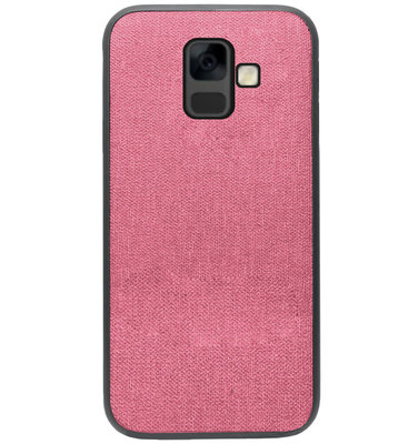 ADEL Siliconen Back Cover Softcase Hoesje voor Samsung Galaxy A6 Plus (2018) - Stoffen Design Roze