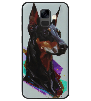ADEL Siliconen Back Cover Softcase Hoesje voor Samsung Galaxy A6 Plus (2018) - Doberman Pinscher Hond