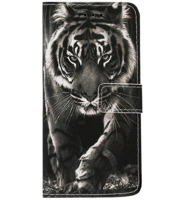 ADEL Kunstleren Book Case Portemonnee Pasjes Hoesje voor Samsung Galaxy A6 Plus (2018) - Tijger