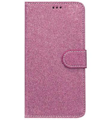 ADEL Kunstleren Book Case Portemonnee Pasjes Hoesje voor Samsung Galaxy A6 Plus (2018) - Bling Bling Glitter Roze