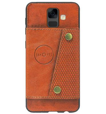 ADEL Kunstleren Back Cover Portemonnee Pasjes Hoesje voor Samsung Galaxy A6 Plus (2018) - Bruin