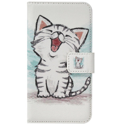 ADEL Kunstleren Book Case Portemonnee Pasjes Hoesje voor Samsung Galaxy A9 (2018) - Katten Wit