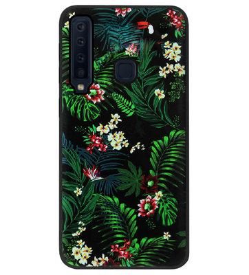 ADEL Siliconen Back Cover Softcase Hoesje voor Samsung Galaxy A9 (2018) - Bloemen Planten Groen