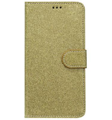 ADEL Kunstleren Book Case Portemonnee Pasjes Hoesje voor Samsung Galaxy A9 (2018) - Bling Bling Glitter Goud
