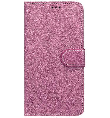 ADEL Kunstleren Book Case Portemonnee Pasjes Hoesje voor Samsung Galaxy A9 (2018) - Bling Bling Glitter Roze