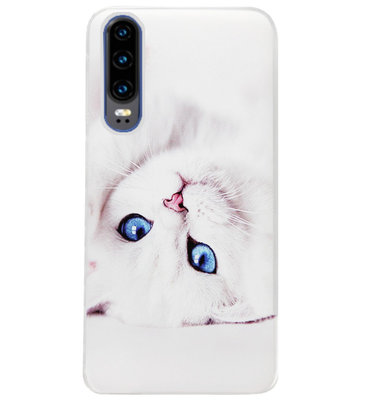 ADEL Siliconen Back Cover Softcase Hoesje voor Huawei P30 - Kat Wit