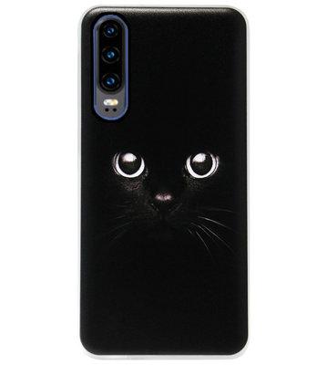 ADEL Siliconen Back Cover Softcase Hoesje voor Huawei P30 - Kat Zwart
