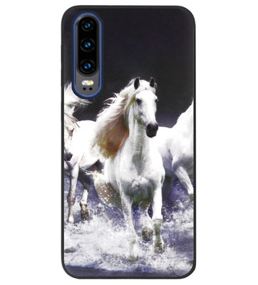 ADEL Siliconen Back Cover Softcase Hoesje voor Huawei P30 - Paarden Wit