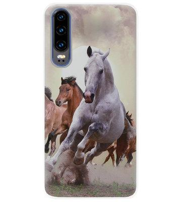 ADEL Siliconen Back Cover Softcase Hoesje voor Huawei P30 - Paarden