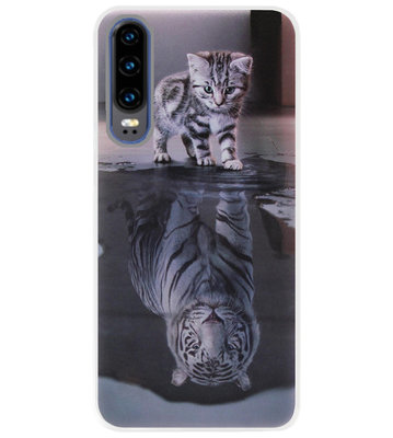 ADEL Siliconen Back Cover Softcase Hoesje voor Huawei P30 - Poezen Schaduw Tijger