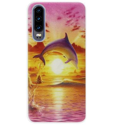 ADEL Siliconen Back Cover Softcase Hoesje voor Huawei P30 - Dolfijn Roze