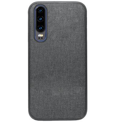 ADEL Siliconen Back Cover Softcase Hoesje voor Huawei P30 - Stoffen Design Grijs