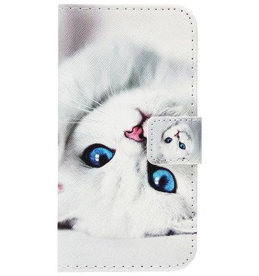 ADEL Kunstleren Book Case Portemonnee Pasjes Hoesje voor Huawei P30 - Katten Wit