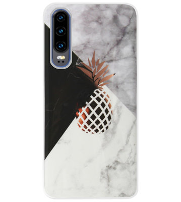 ADEL Siliconen Back Cover Softcase Hoesje voor Huawei P30 - Ananas Goud