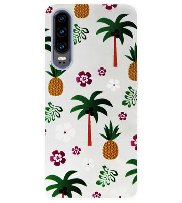 ADEL Siliconen Back Cover Softcase Hoesje voor Huawei P30 - Ananas Palmbomen
