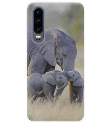 ADEL Siliconen Back Cover Softcase Hoesje voor Huawei P30 - Olifant Familie
