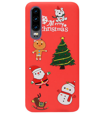 ADEL Siliconen Back Cover Softcase Hoesje voor Huawei P30 - Kerstmis