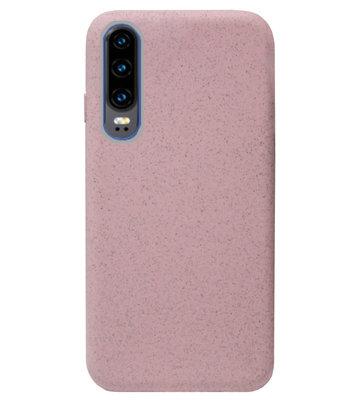 ADEL Tarwe Stro TPU Back Cover Softcase Hoesje voor Huawei P30 - Duurzaam afbreekbaar Milieuvriendelijk Roze