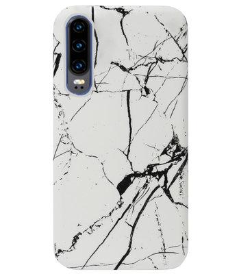 ADEL Kunststof Back Cover Hardcase Hoesje voor Huawei P30 - Marmer Wit