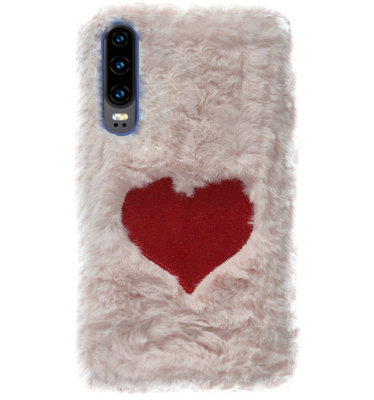 ADEL Siliconen Back Cover Softcase Hoesje voor Huawei P30 - Hartjes Fluffy Pluche Zachte Stof