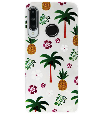 ADEL Siliconen Back Cover Softcase Hoesje voor Huawei P30 Lite - Ananas Palmbomen