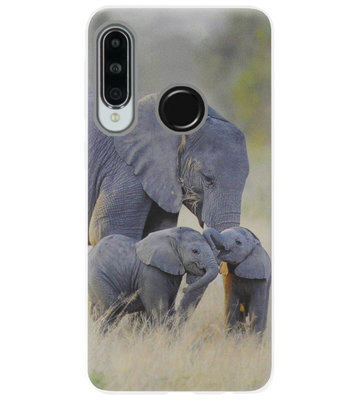 ADEL Siliconen Back Cover Softcase Hoesje voor Huawei P30 Lite - Olifant Familie