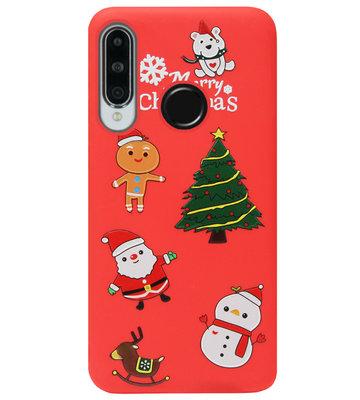 ADEL Siliconen Back Cover Softcase Hoesje voor Huawei P30 Lite - Kerstmis
