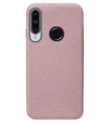 ADEL Tarwe Stro TPU Back Cover Softcase Hoesje voor Huawei P30 Lite - Duurzaam afbreekbaar Milieuvriendelijk Roze