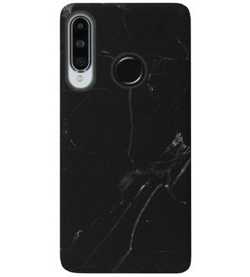 ADEL Kunststof Back Cover Hardcase Hoesje voor Huawei P30 Lite - Marmer Zwart