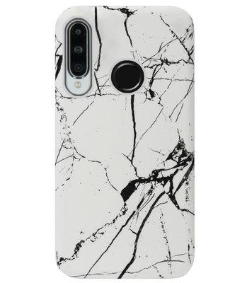 ADEL Kunststof Back Cover Hardcase Hoesje voor Huawei P30 Lite - Marmer Wit